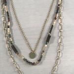 Axxes-Soir Korte ketting - 3 lagen - goudkleurig