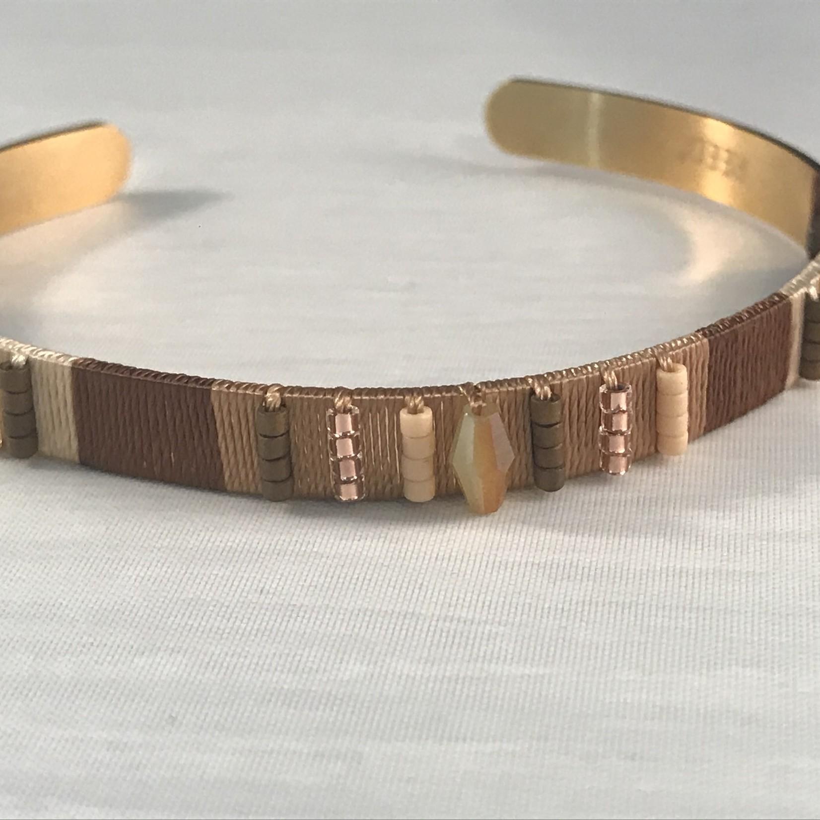 Biba armband goudkleurig en natuurtinten - 1 maat