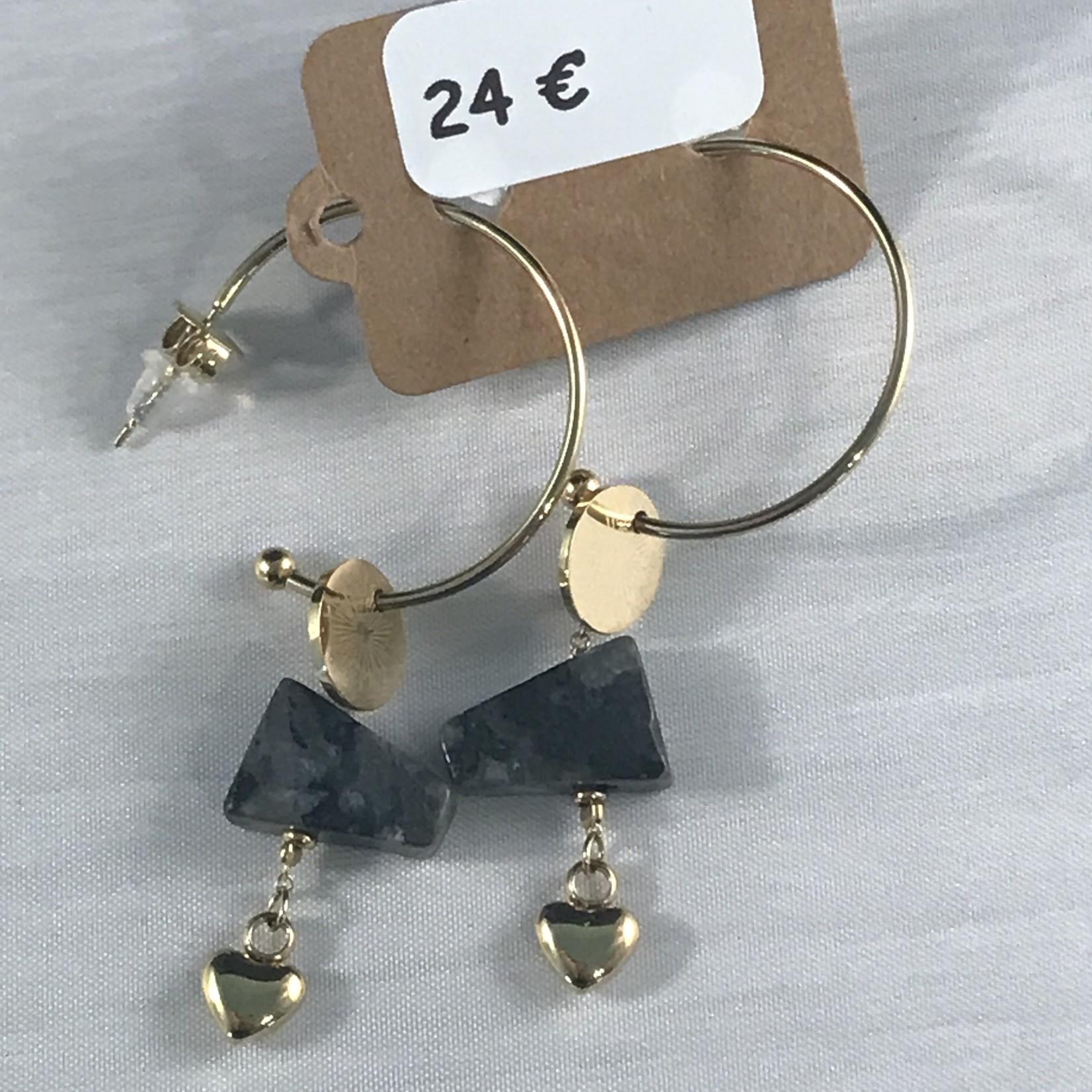 Axxes-Soir Oorringen goudkleurig hangertje - met grijs trapezium en gouden hartje