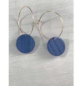 Axxes-Soir Oorringen goudkleurige hanger met blauw rondje