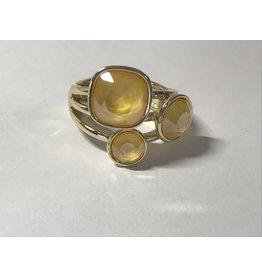 Axxes-Soir Ring - 1 maat - op elastiek - Swarowski - geel