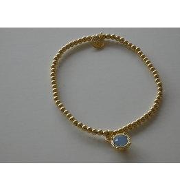 Axxes-Soir Armband - goudkleurig-bolletje en steentje in blauw of groen