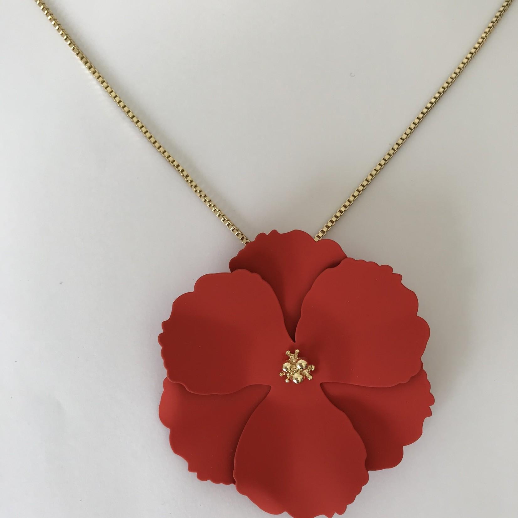 Axxes-Soir korte  goudkleurige  ketting met rode bloem