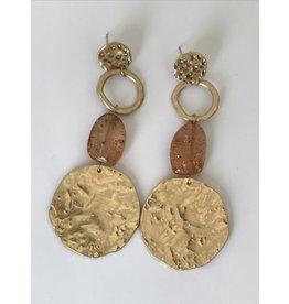 Biba Oorringen goudkleurig hangers (lang) - mat -ruw