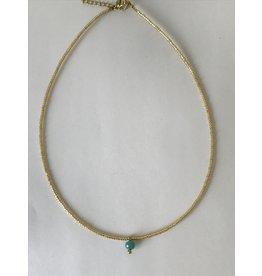 Axxes-Soir heel korte goudkleurige stijve ketting met turquoise bolletje