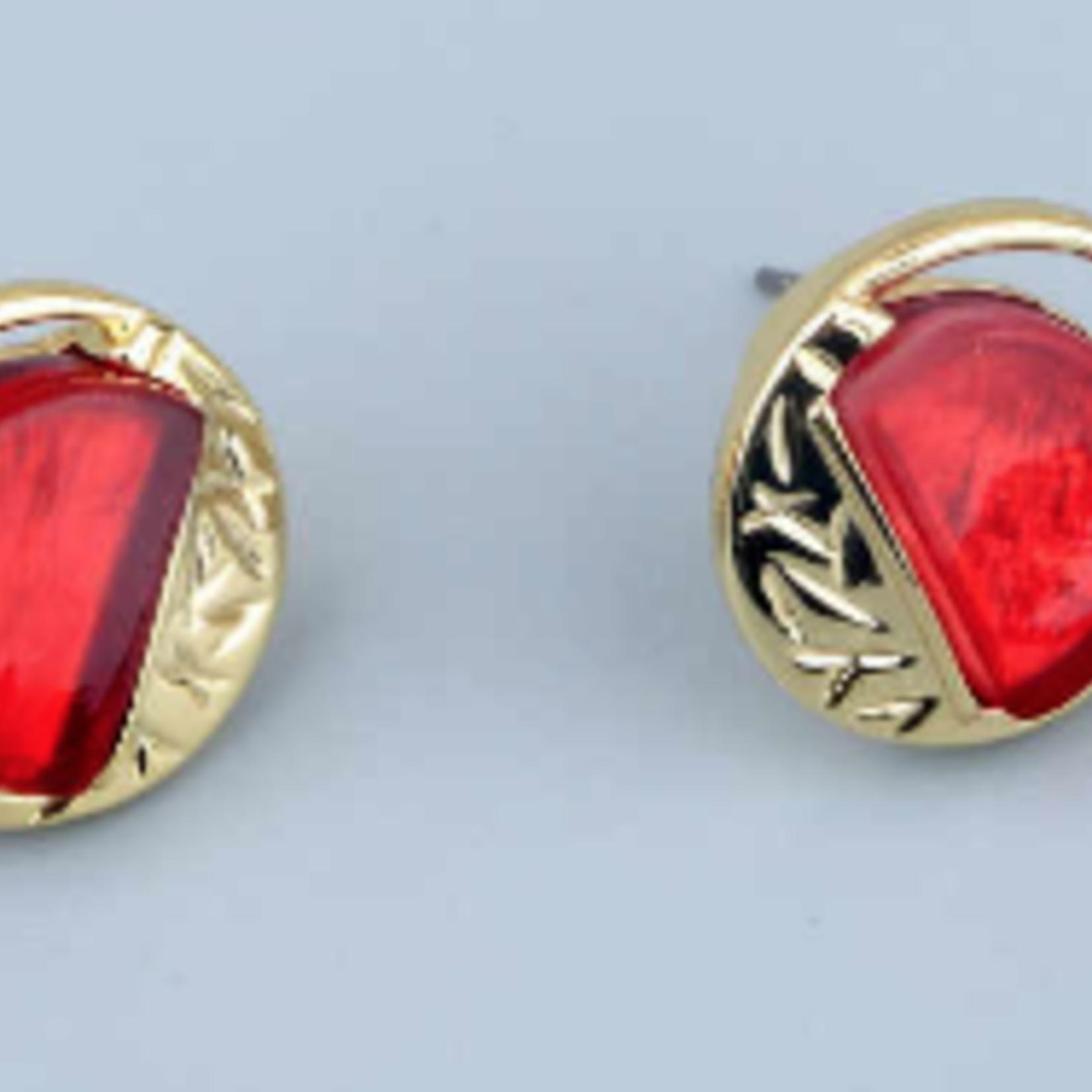 Axxes-Soir Oorringen - goudkleurig en rode knopjes