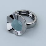 Axxes-Soir Ring elastisch gun metal met blauwe steen