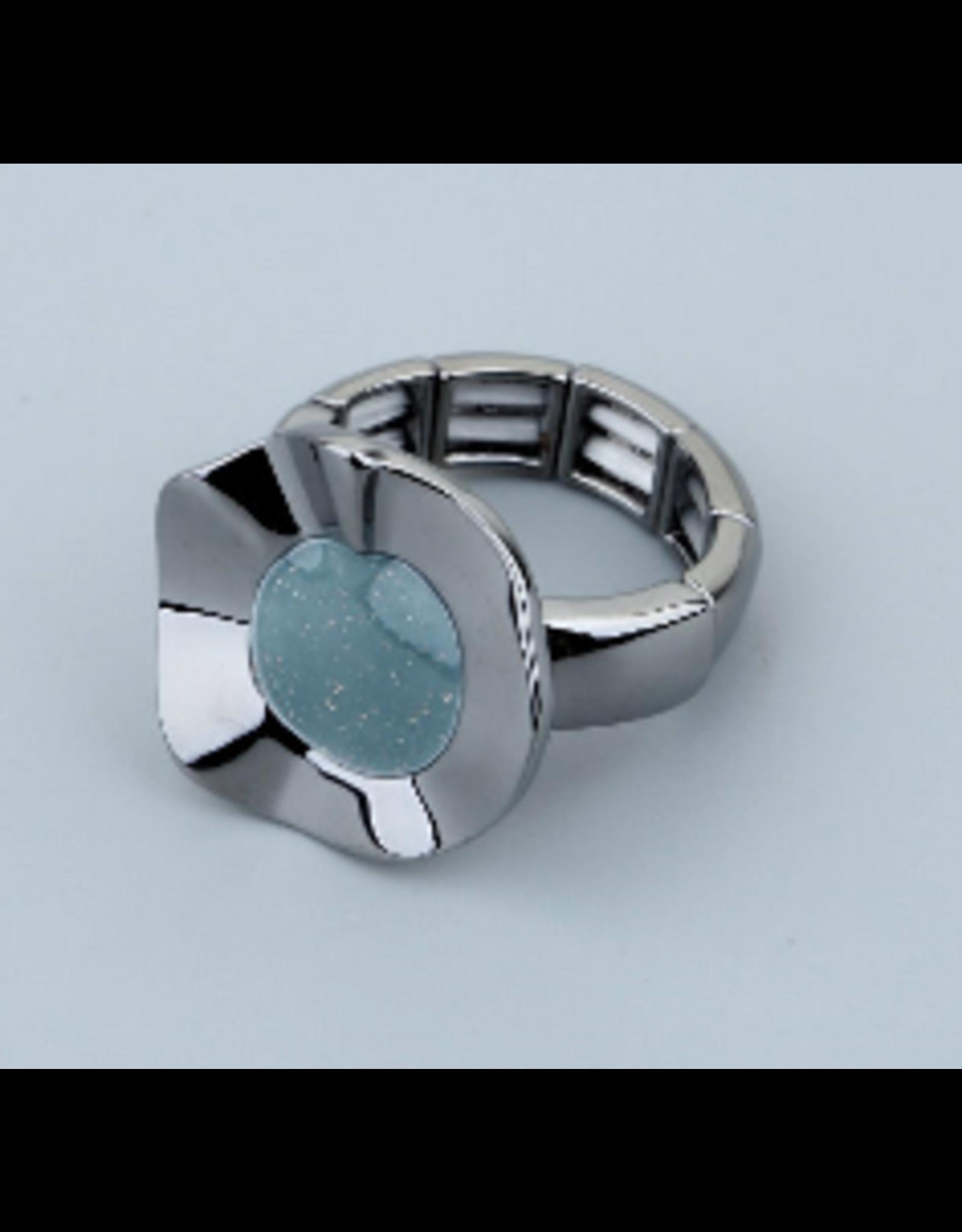 Axxes-Soir Ring - 1 maat - elastisch- gun metal met blauwe steen