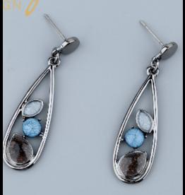 Axxes-Soir Oorringen - hanger - gun metal en blauw/grijs