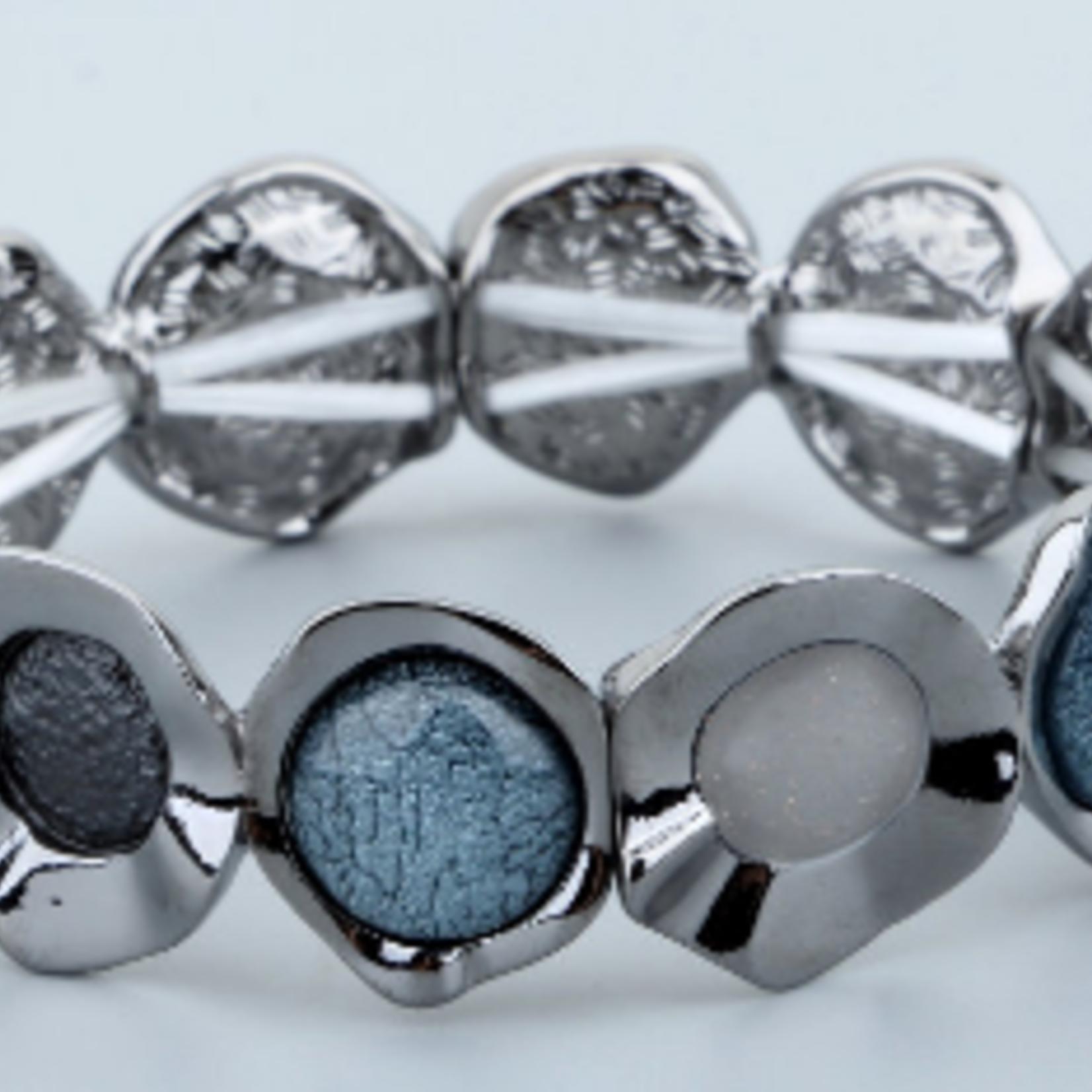 Biba Armband gun metal met stenen blauw-grijs