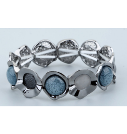 Biba armband gun metal met cateye blauw-grijs