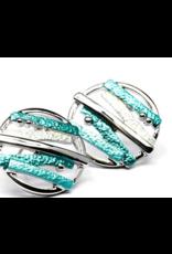 Axxes-Soir Oorringen - steker - zilverkleurige cirkel met staafjes - petrol