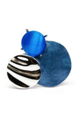 Axxes-Soir Ring - 1 maat - op elastiek - zilver kleurig met blauw