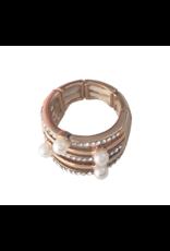 Axxes-Soir Ring - 1 maat - op elastiek - rosékleurig met pareltjes