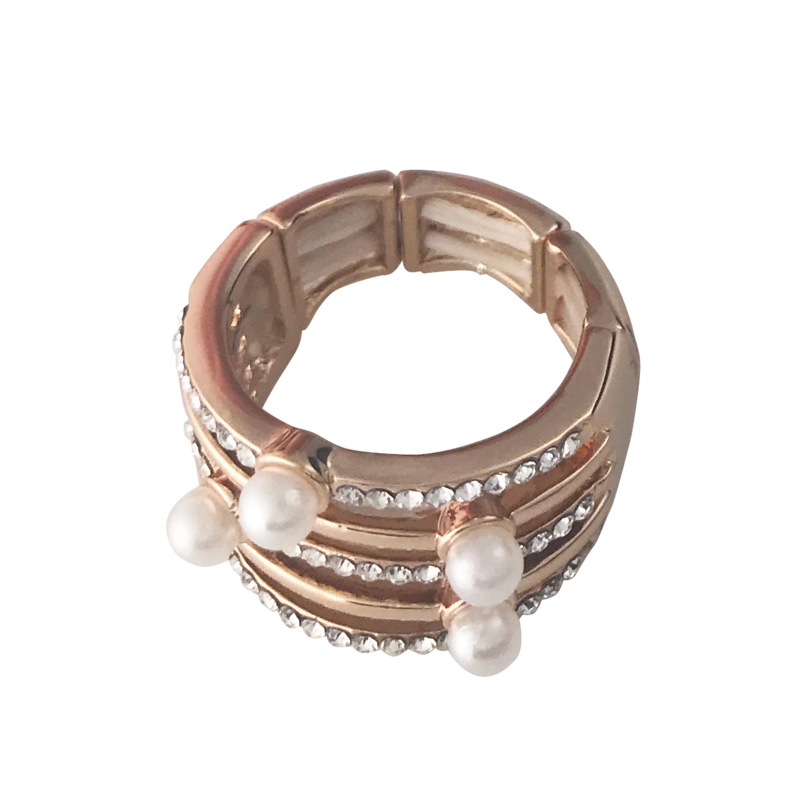 Axxes-Soir Ring  elastisch rosékleurig met strass en pareltjes