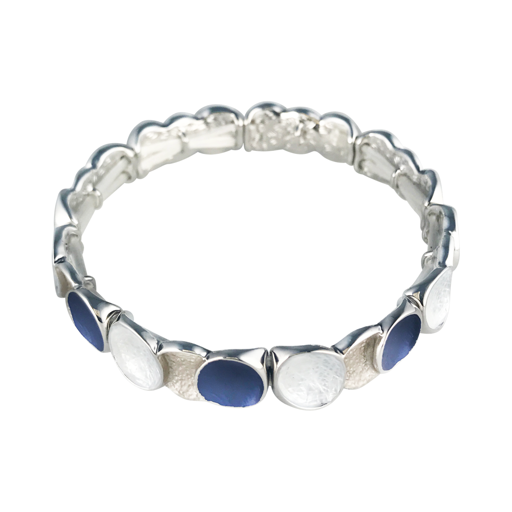 Axxes-Soir Armband - zilverkleurig met donker blauw mat