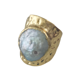 Axxes-Soir Ring - 1 maat - verstelbaar - goudkleurig - met grote parelmoer