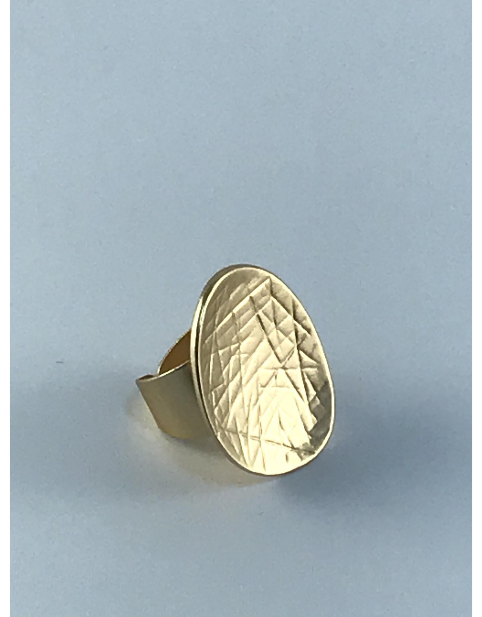 Axxes-Soir Ring - 1 maat - verstelbaar- goudkleurig - mat