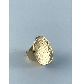 Axxes-Soir Ring - 1 maat - verstelbaar- goudkleurig - mat - gekarteld