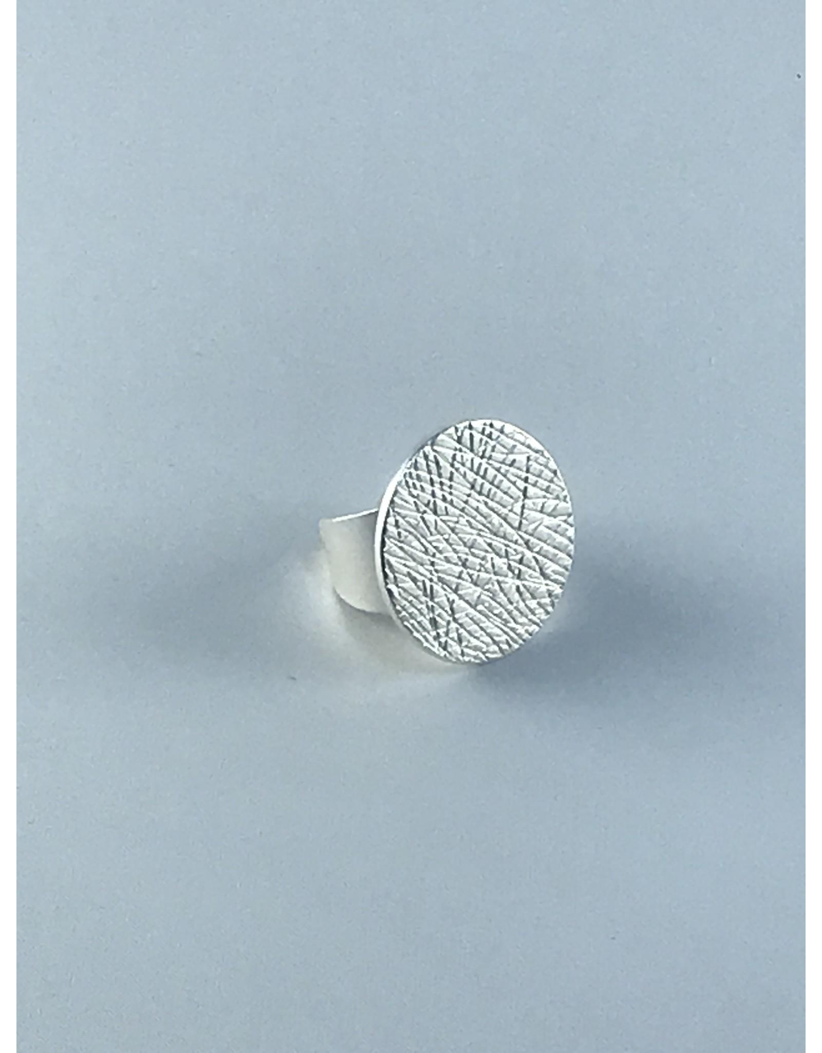 Axxes-Soir Ring - 1 maat - verstelbaar- zilverkleurig - mat - gekarteld