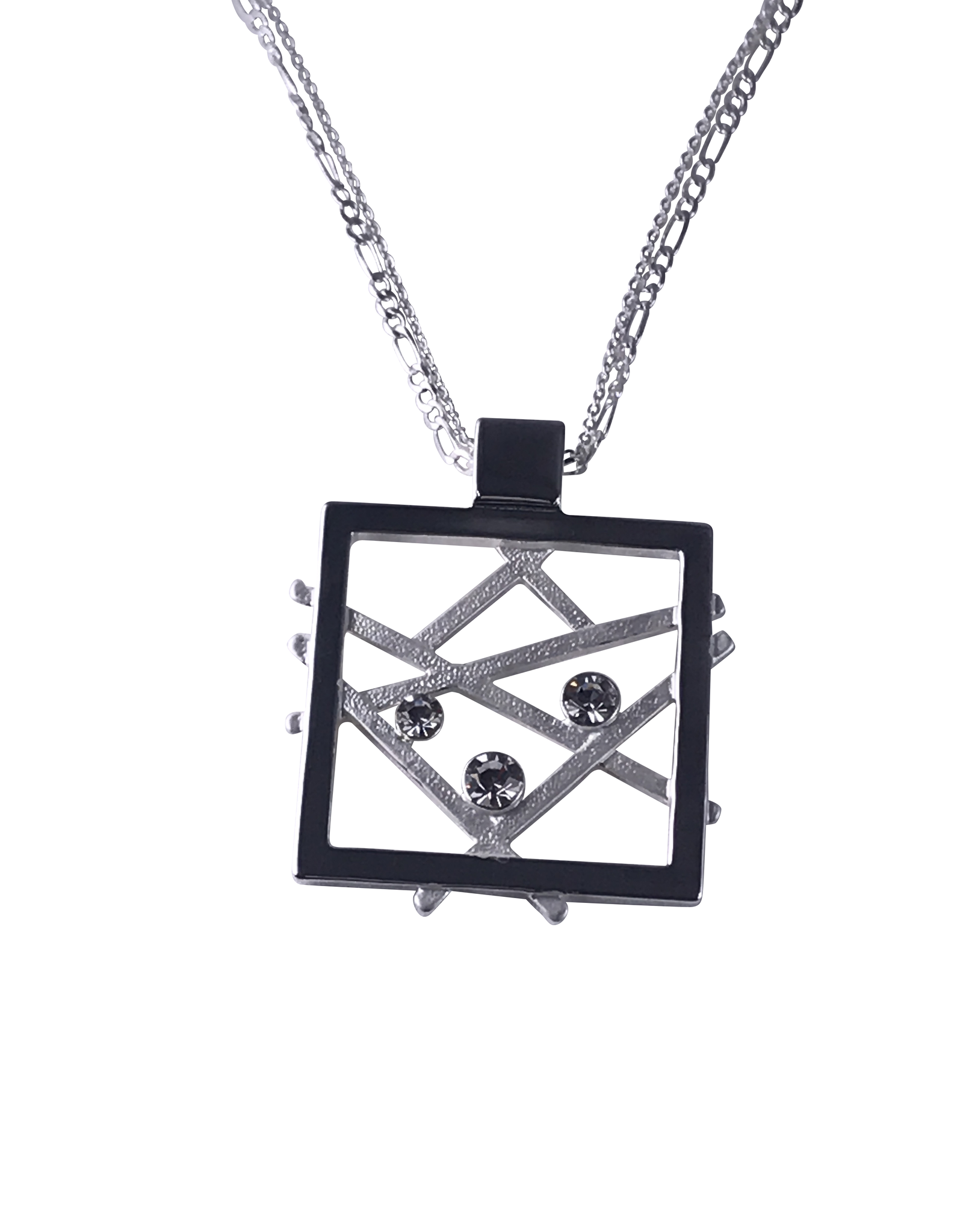 Axxes-Soir korte  ketting zilverkleurig vierkantje met mat zilvere diagonalen