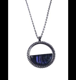 Axxes-Soir korte  ketting zilverkleurig cirkeltje met blauwe steen