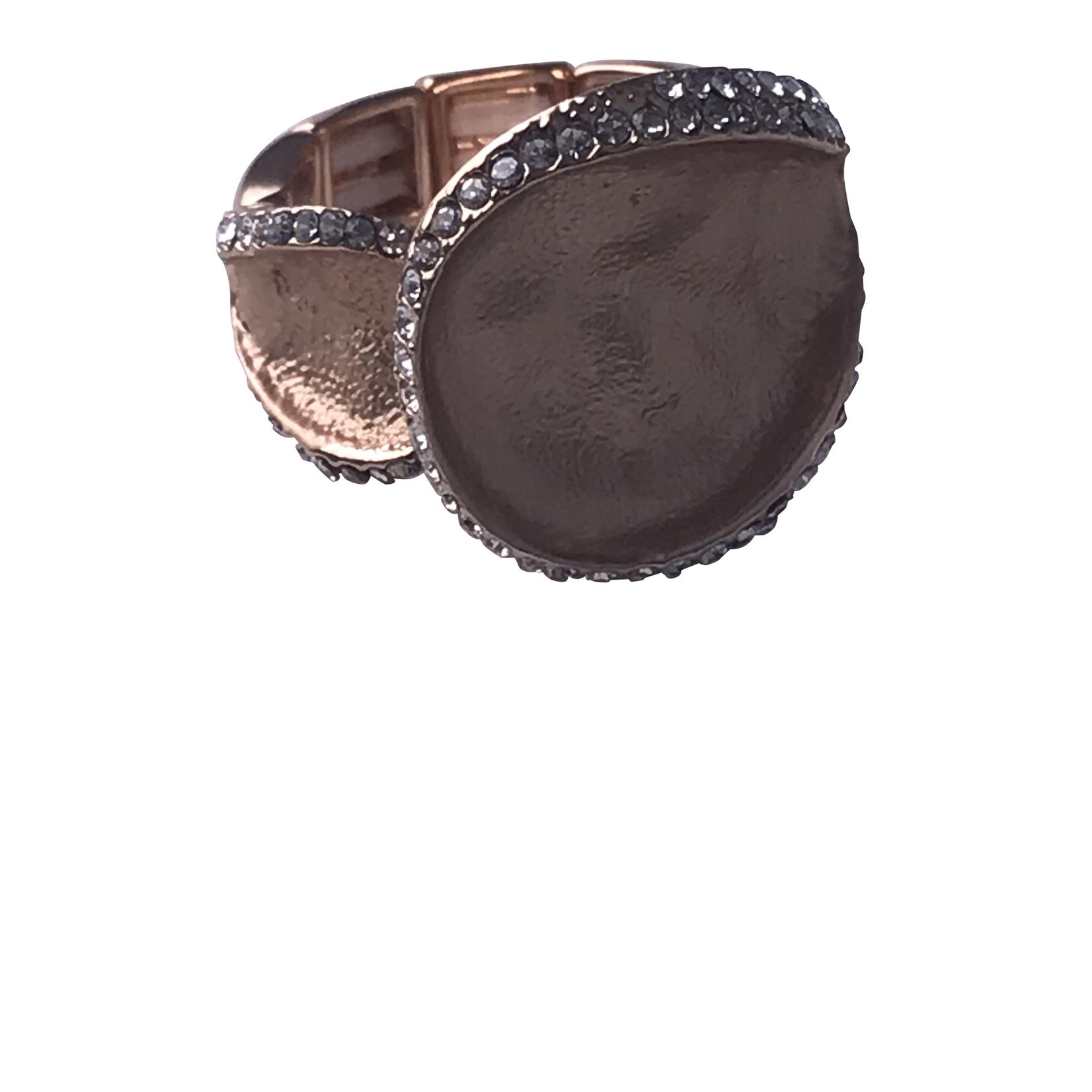 Axxes-Soir Ring elastisch rosékleurig mat, met steentjes