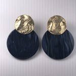 Biba Oorringen goudkleurige met donkerblauw rondje