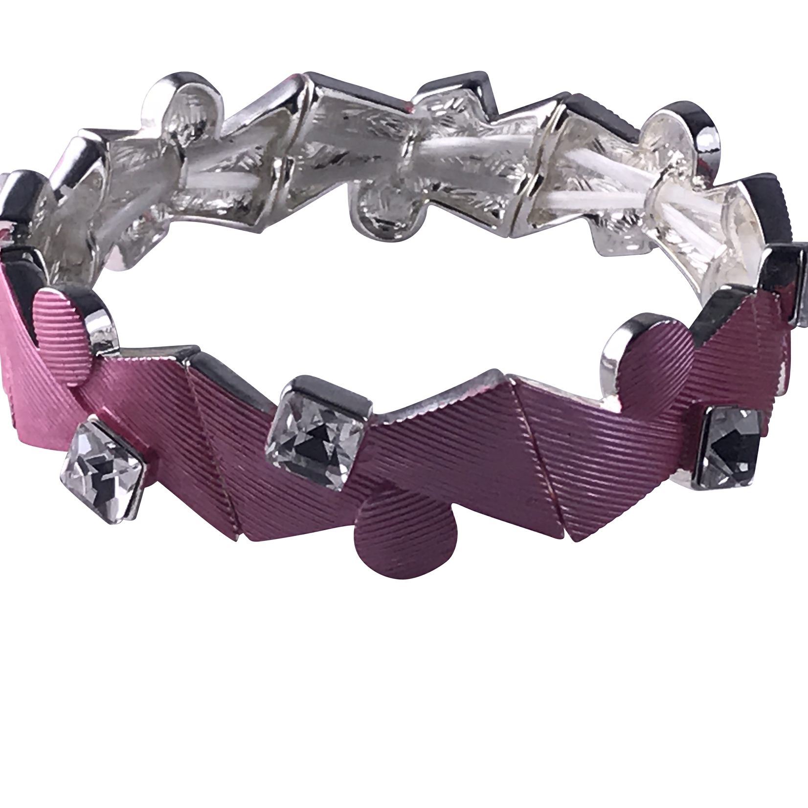 Biba armband zilverkleurig - roze driehoekjes