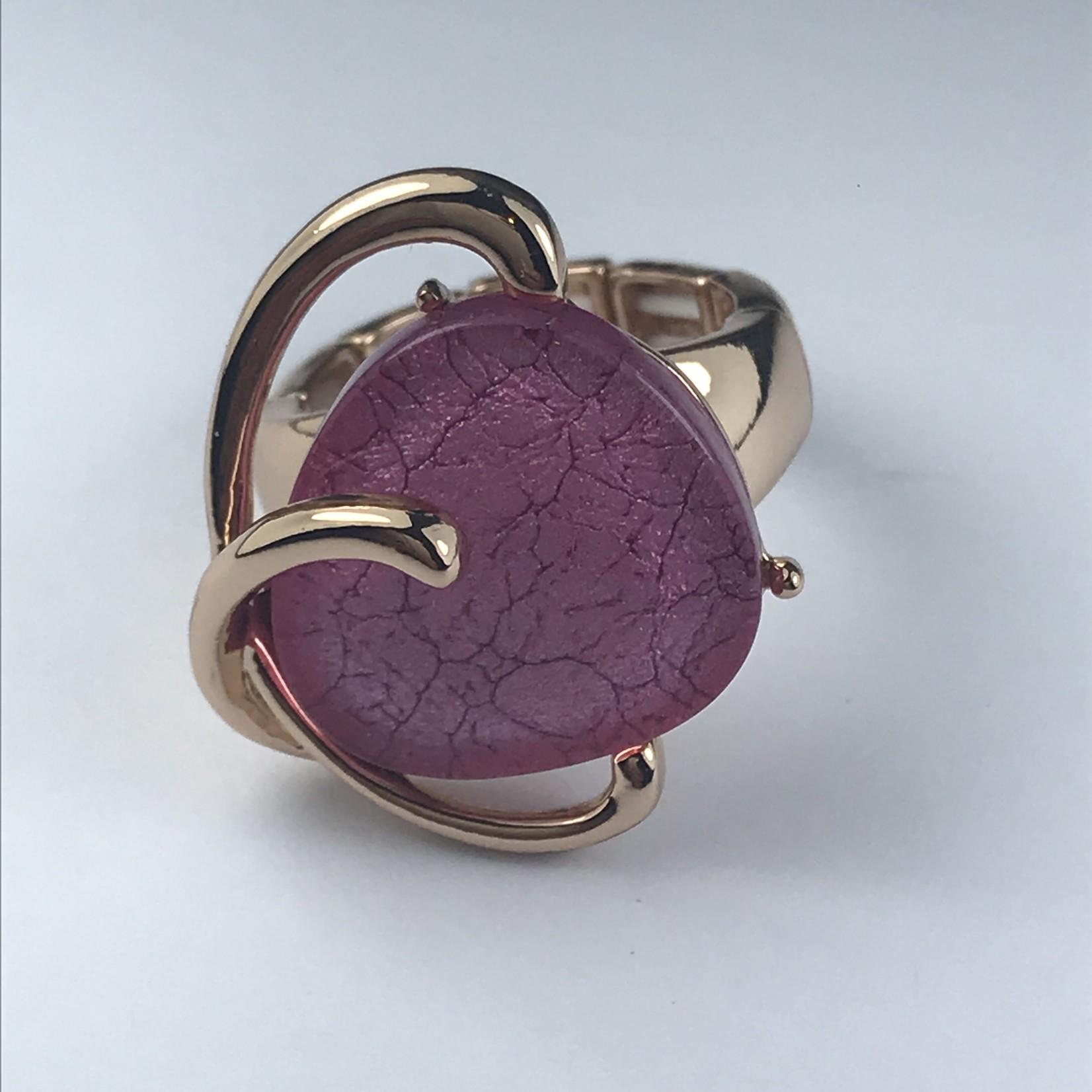 Axxes-Soir Ring - 1 maat - verstelbaar- rosékleurig met roze cateye