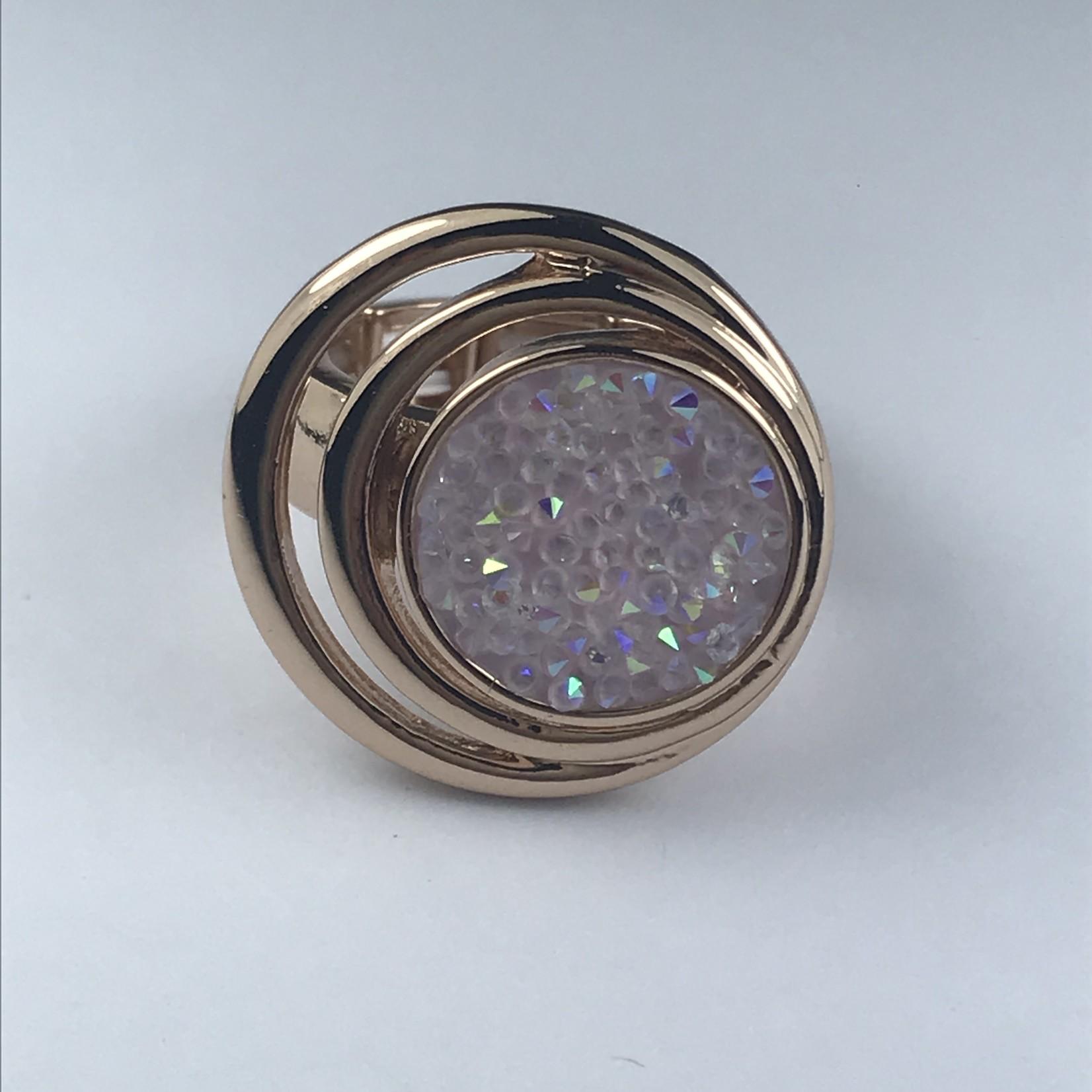 Axxes-Soir Ring elastisch rosékleurig met roze natuursteen