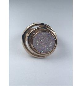 Axxes-Soir Ring - 1 maat - verstelbaar- rosékleurig met roze natuursteen