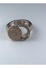 Axxes-Soir Ring - 1 maat - verstelbaar- rosékleurig met 2 cirkels