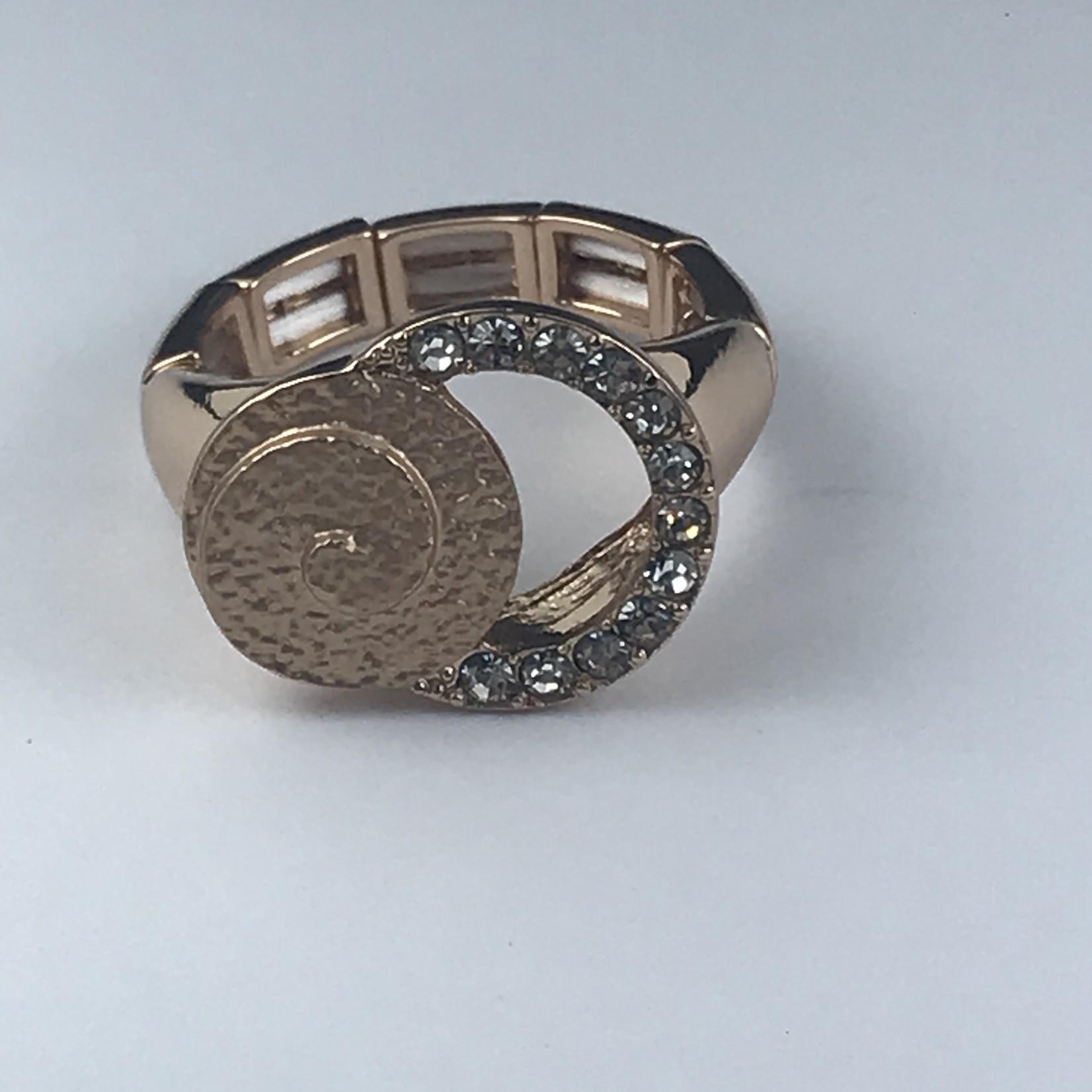 Axxes-Soir Ring elastisch rosékleurig met cirkels