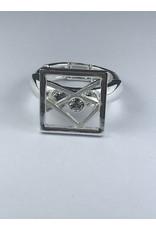 Axxes-Soir Ring - 1 maat - verstelbaar- zilverkleurig met mat wit