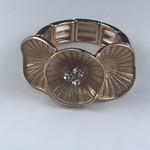 Axxes-Soir Ring - 1 maat - verstelbaar- rosékleurig met bloemetjes