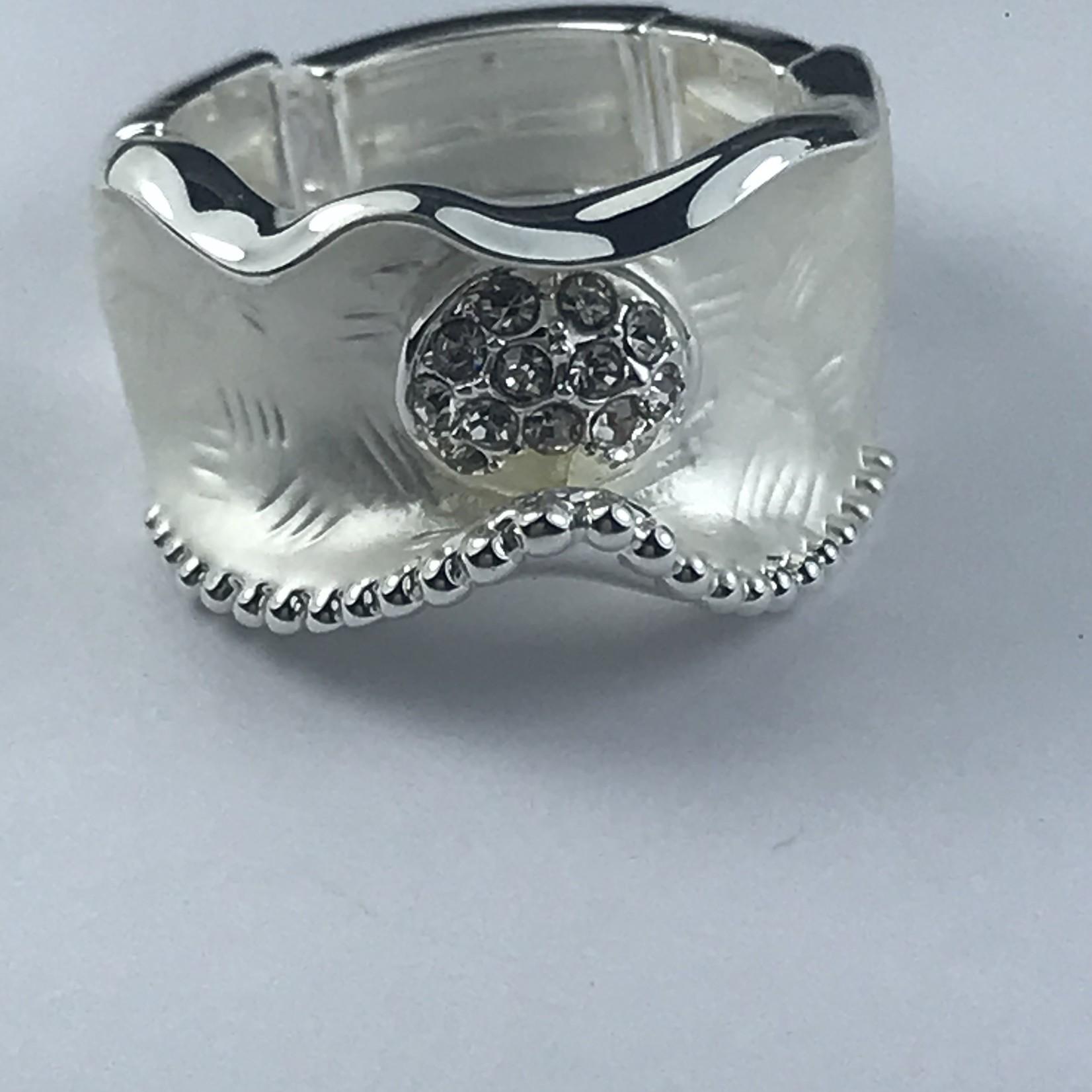 Axxes-Soir Ring elastisch zilverkleurig met steentjes