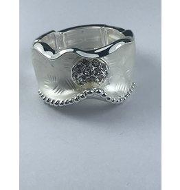 Axxes-Soir Ring - 1 maat - verstelbaar- zilverkleurig mat afgewerkt met steentjes