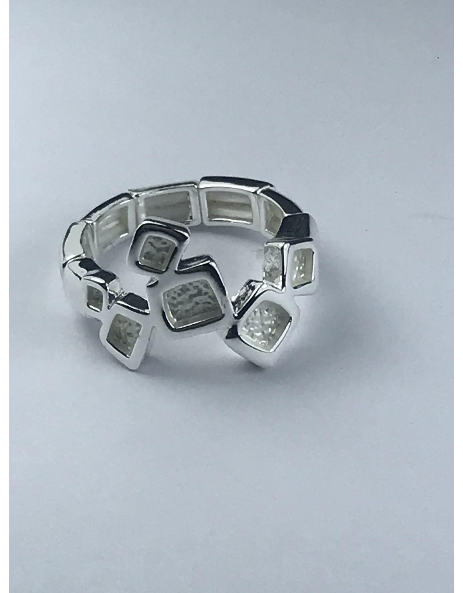 Axxes-Soir Ring - 1 maat - verstelbaar- zilverkleurig - blokjes