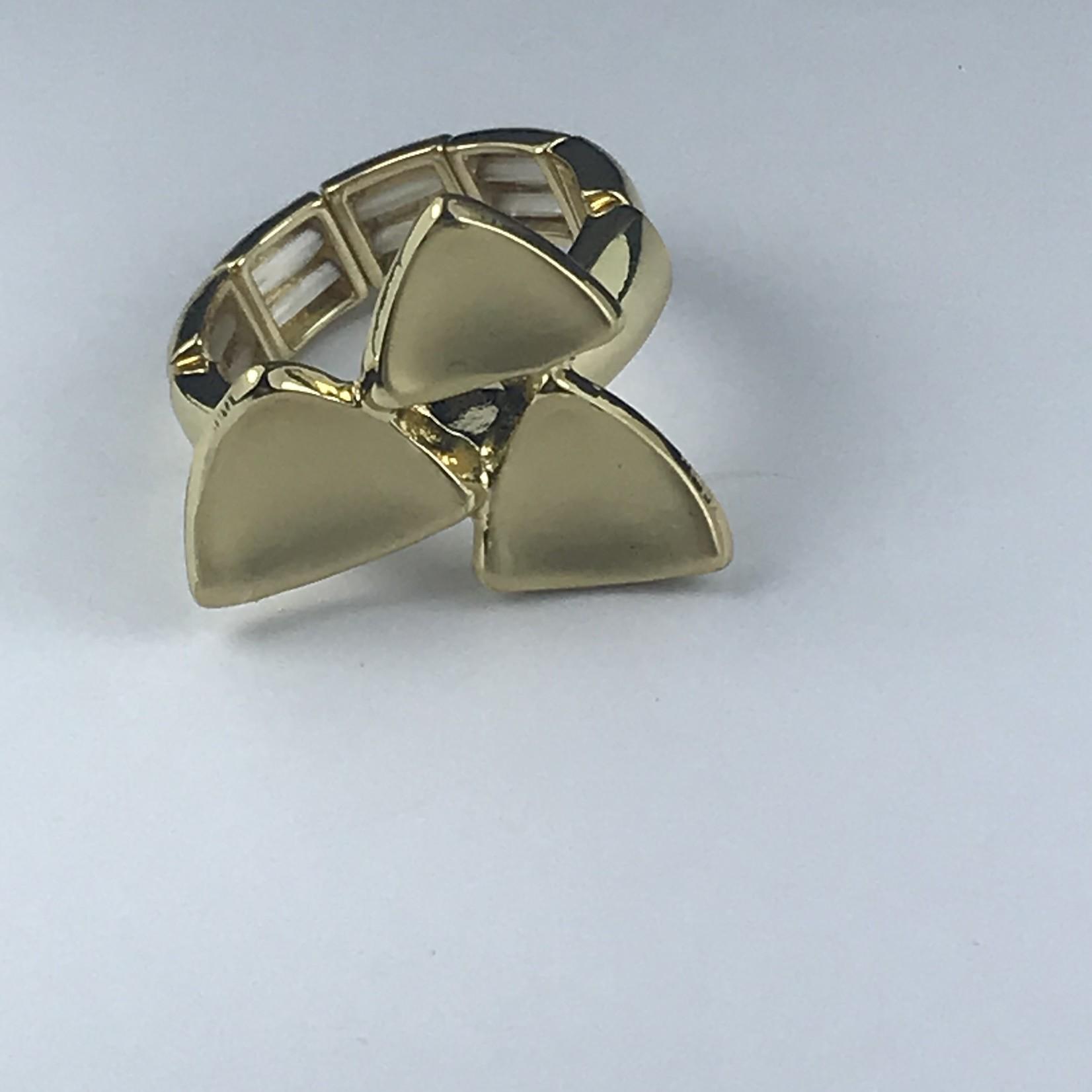Axxes-Soir Ring  elastisch goudkleurig met driehoekjes