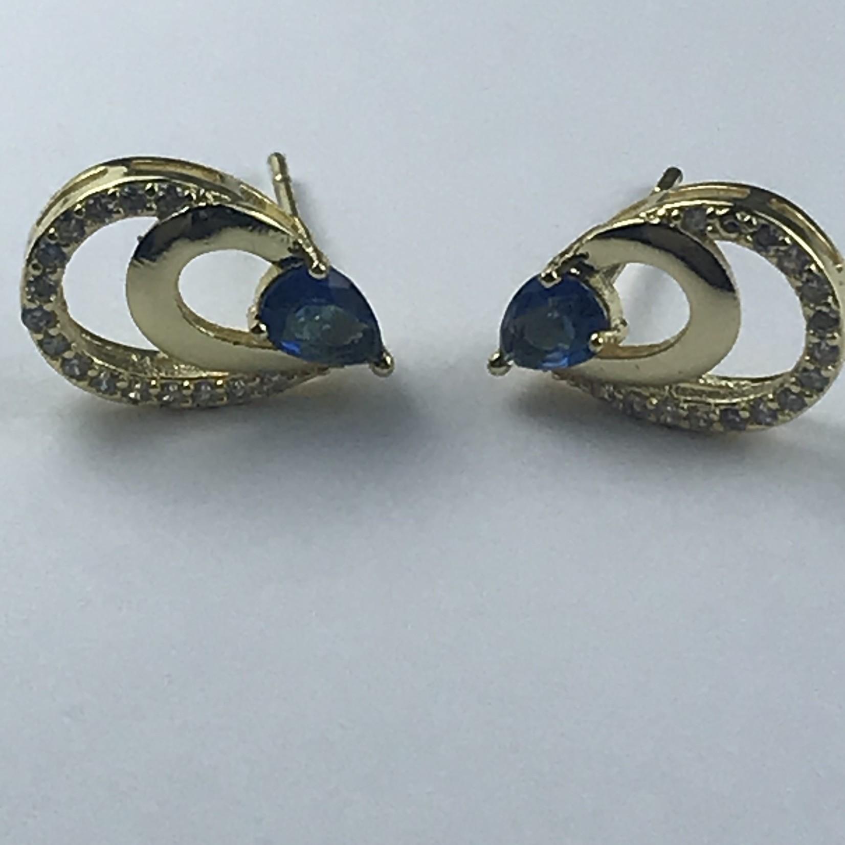 Biba Oorringen goudkleurige steker met gouden en blauwe ovaaltjes