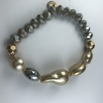 Biba armband goudkleurig - khaki - parelmoer