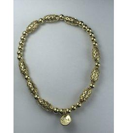 Biba armband goudkleurige bolletjes en schakels