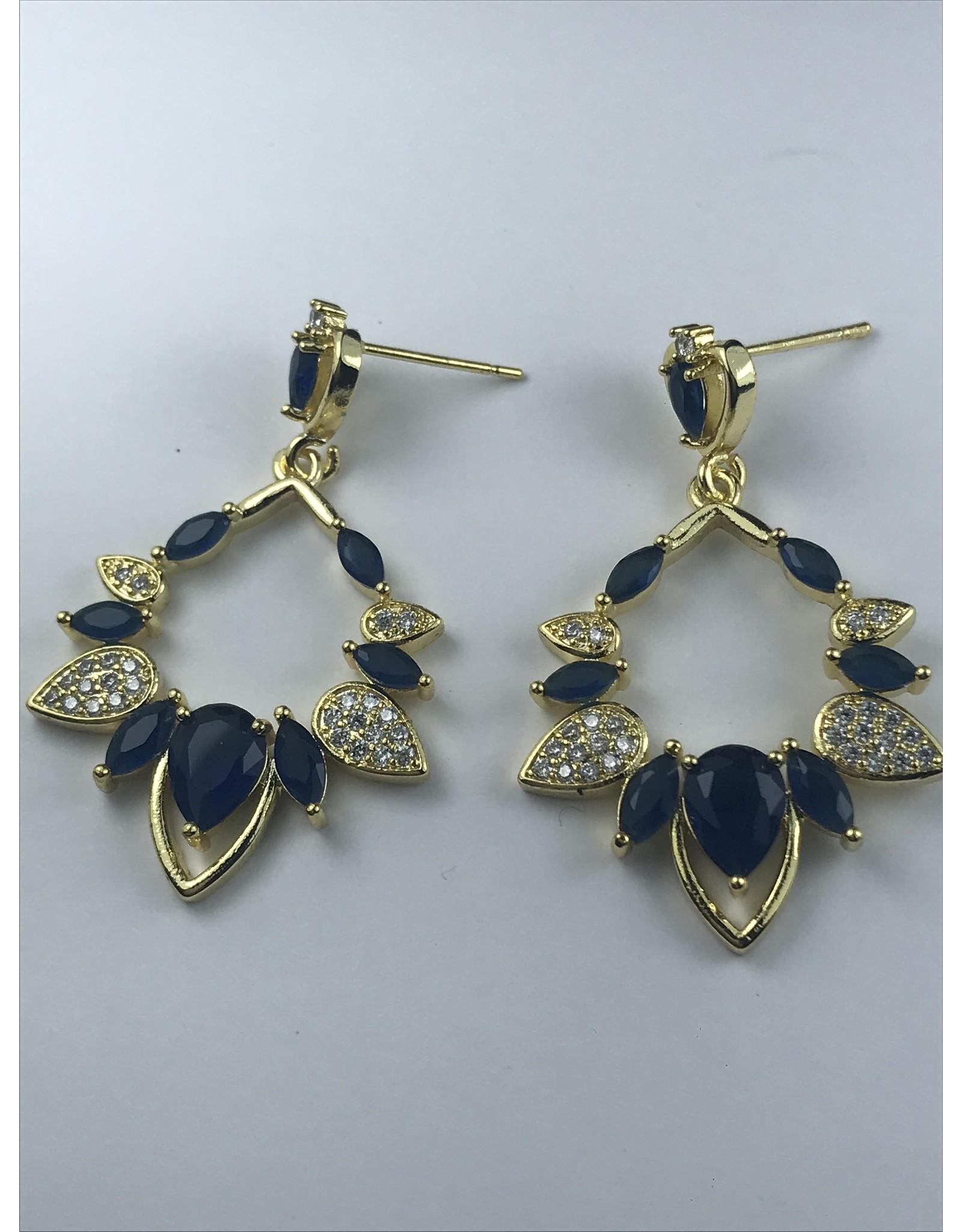 Biba Oorringen goudkleurig met donkerblauw en steentjes