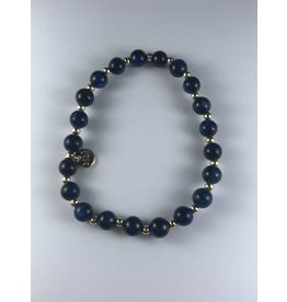 Biba armband goudkleurig met donkerblauwe  bolletjes