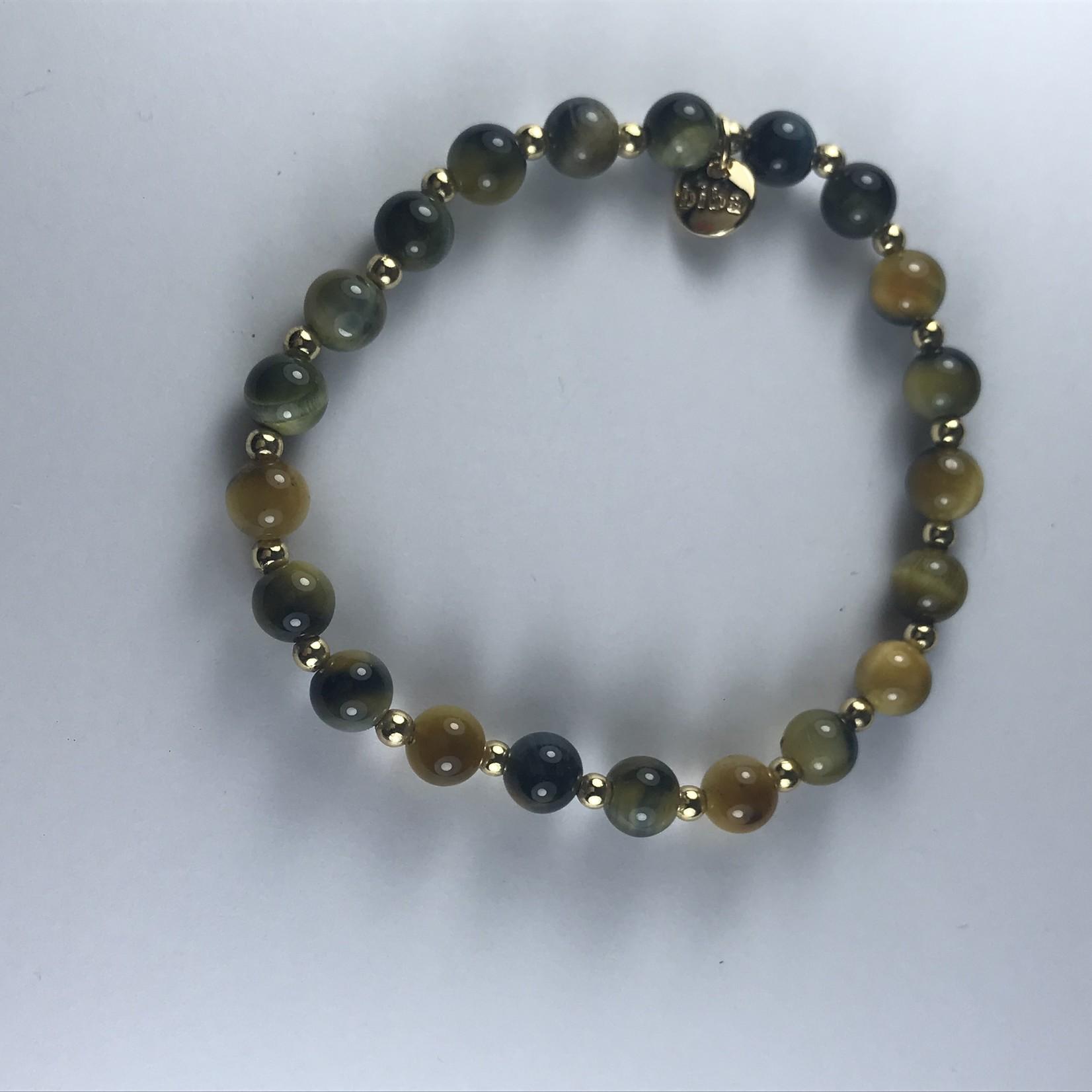 Biba armband goudkleurig met donkergroene en gele bolletjes