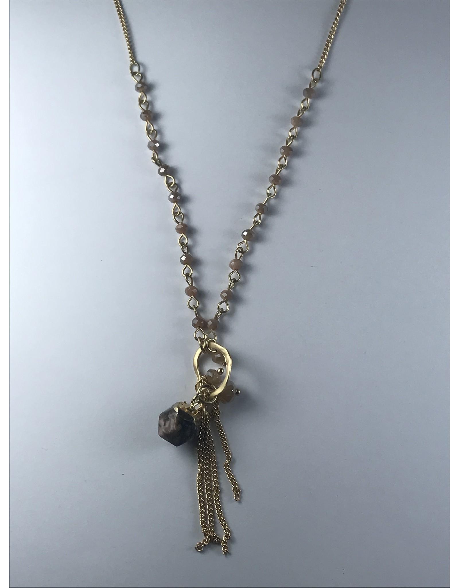Axxes-Soir korte  fijne goudkleurige ketting met natureltinten -  bolletjes