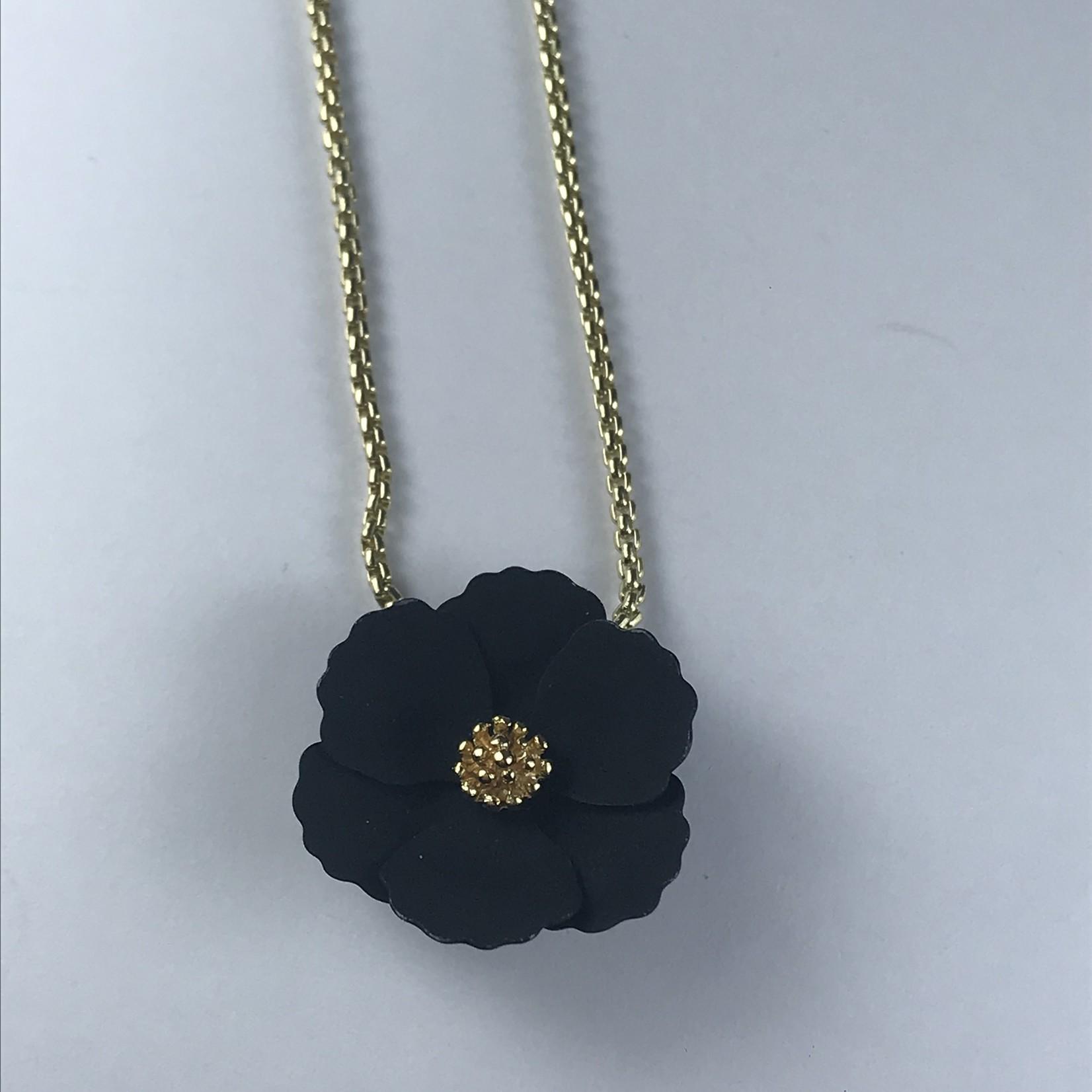 Axxes-Soir Ketting kort goudkleurig  met zwart bloemetje