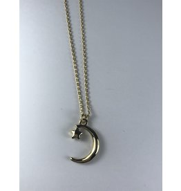 Axxes-Soir korte  goudkleurige ketting met maantje en ster