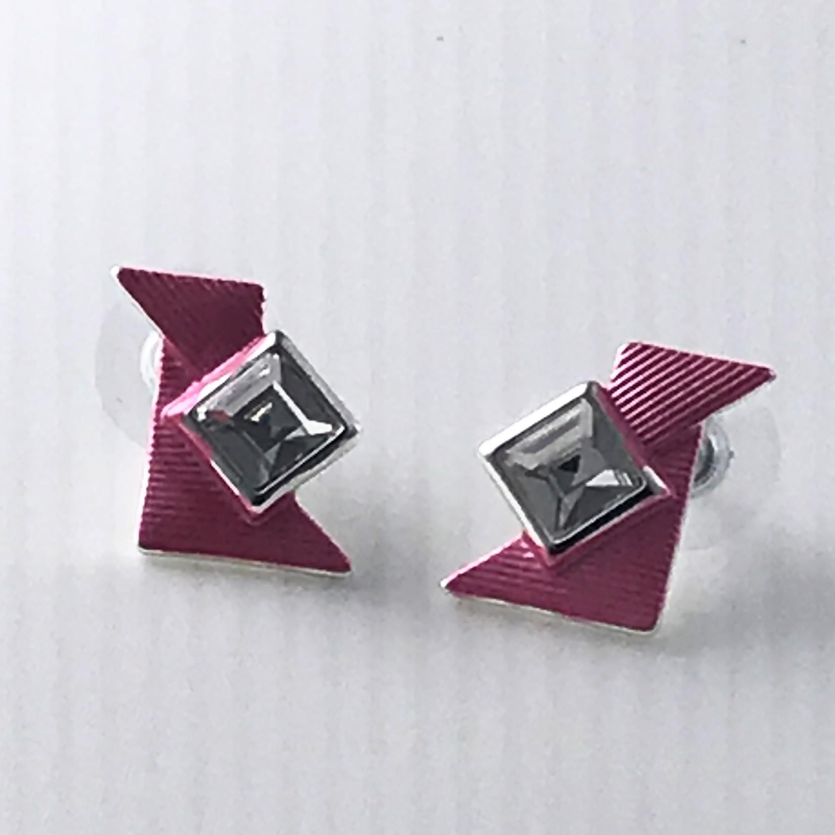 Biba Oorringen zilverkleurig roze driehoekjes en steentje